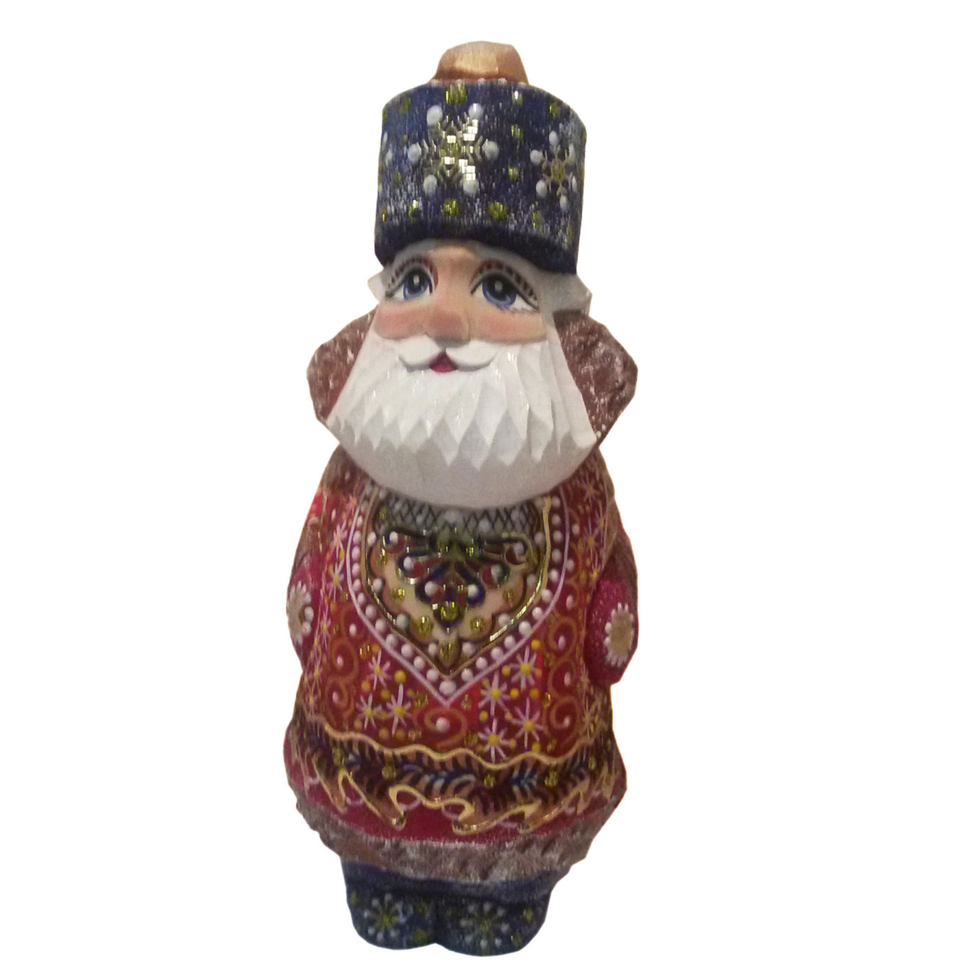 Traditionally hand carved of wood from linden tree and hand painted Santa Claus (16 cm)