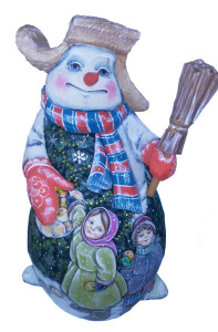 CK_2500-7000 Traditionally hand carved of wood from linden tree and hand painted snowman (33 cm)