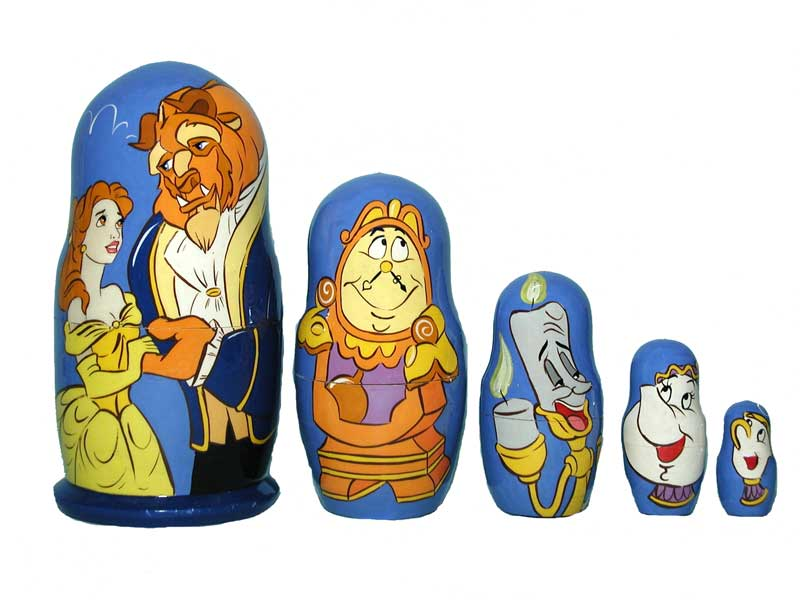 AC5Ka6_b Matrioshka «Cartoons» with popular movie heros 5-set (3 sizes: big 18 cm, middle 14 cm and small 9 cm)