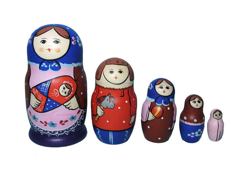 AC5e1h_b Family matrioshka 5-set (h 14-15 cm), traditional design