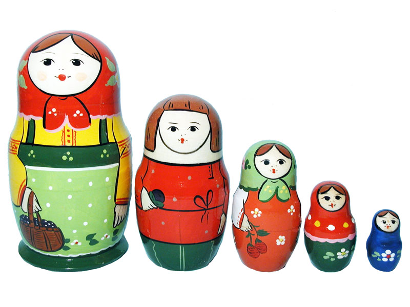 Family matrioshka 5-set (h 14-15 cm), traditional design