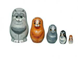 Matrioshka 5-set «Cat» small (h 8 cm)