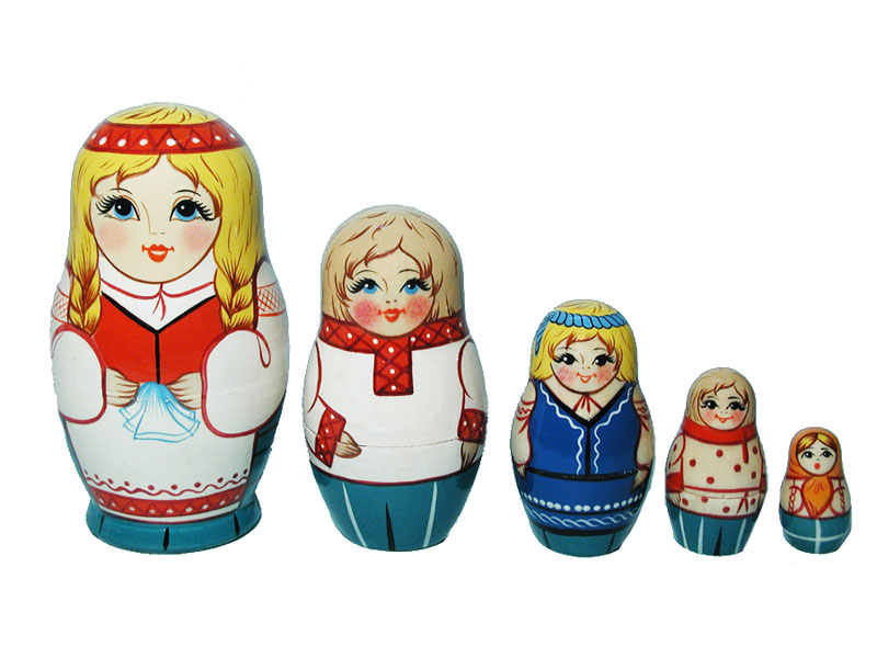 Art: AV5ns3 Matrioshka 5-set «National suit» (h 11 cm)