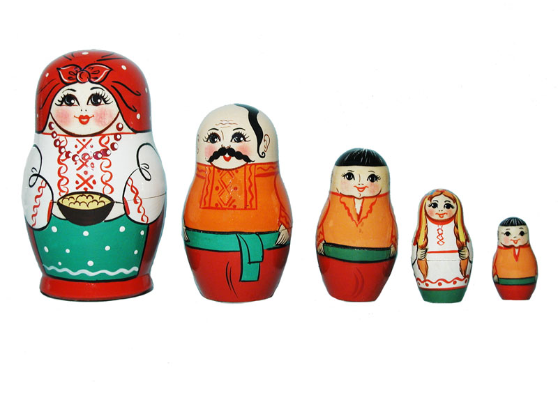 Art: AV5ns6 Matrioshka 5-set «National suit» (h 11 cm)