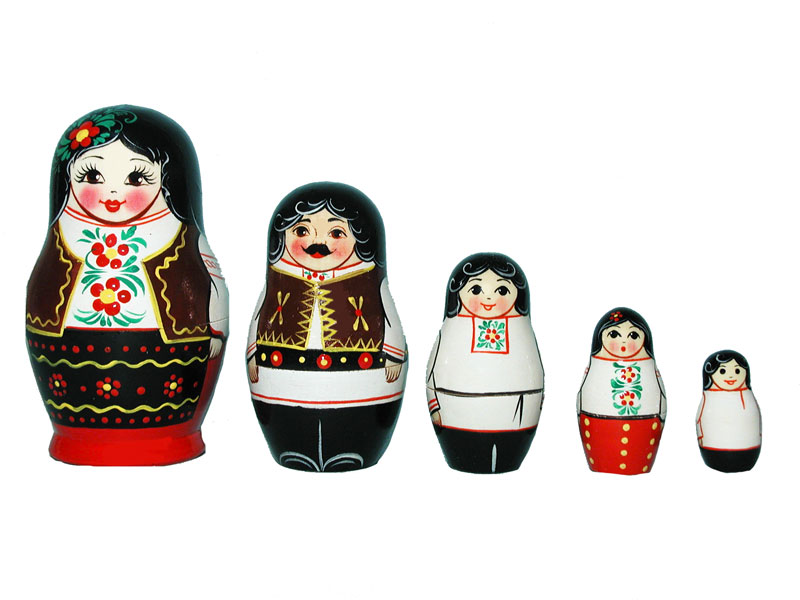 Art: AV5ns8 Matrioshka 5-set «National suit» (h 11 cm)
