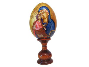 EW1ami4 Wooden religious egg (h 11-12 cm excl.stand)