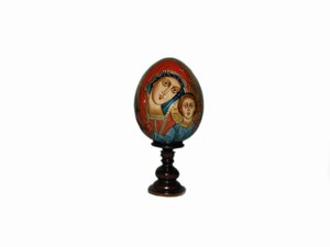 EW1as2 Religious egg made of wood & hand painted (small size, h 10 cm excl.stand)