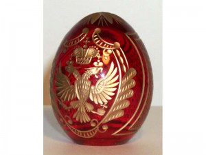 M77R0 Faberge styled crystal egg is hand engraved and covered with gold (sizes: 10cm, 8cm, 6cm), colours: blue, red,green, transparent